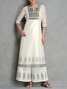Ivory-Black Block Printed Chanderi Kurta With Lining Set of 2 by Kora Dress Indian Style, Indian Wear, Indian Designer Outfits, Indian Outfits, Designer Dresses, Kurta Designs Women, Blouse Designs, Fashion Pants, Fashion Outfits