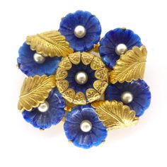 Vintage Czech Lapis Blue Flower Gold Filigree Pin Brooch | Clarice Jewellery | Vintage Costume Jewellery