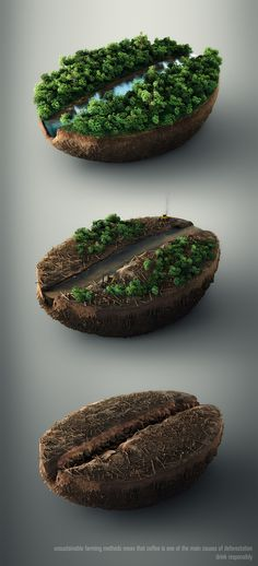 A set of three CGI images showing the effects of deforestation, revealing a coffee bean below. Everything except from the machinery was rendered in 3D.
