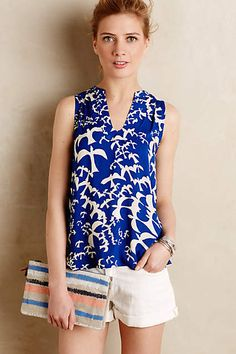 This color blue is just amazing!  Quite a large top but size down and looks lovely.----Enna Tank - anthropologie.com