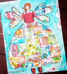 I want to take this art class! Quilted girl with wings
