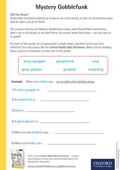 Mystery Gobblefunk -download our phizz-whizzing Oxford Roald Dahl Dictionary activity sheets now! #RoaldDahlDay #DahlDictionary Dictionary Activities, Roald Dahl Day, Words To Use, Activity Sheets, Did You Know, Inventions, Mystery, Oxford, Facts