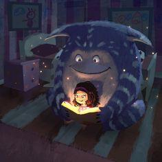The reading light / La luz de la lectura (ilustración de Goro Fujita)