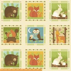 "Windham Fabrics, Forest Parade, Animal Block Panel Multi (Coming in March 2015) fabricworm.com   Fabric is sold by the 1/2 Yard. For example, if you would like to purchase 1 Yard, you would enter 2 in the Qty. box at Checkout. Yardage is cut in one continuous piece.  Examples:  1/2 yard = 1 1 yard = 2 1 1/2 yards = 3 2 yards = 4  1/2 Yard Measures 18"" x 44/45""   Fiber Content: 100% Cotton   Hover over image for a larger, better view."