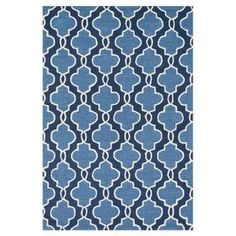 """Anchor the living room or define a space in your master suite with this artfully hand-hooked rug, showcasing a quatrefoil trellis motif in a lovely blue palette.    Product: RugConstruction Material: 100% PolyesterColor: Navy and blueFeatures: Hand-hooked Pile Height: 0.25"""" Note: Please be aware that actual colors may vary from those shown on your screen. Accent rugs may also not show the entire pattern that the corresponding area rugs have.Cleaning and Care: Blot spills. Vacuum ..."""