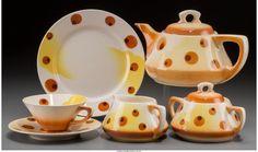 An Assembled Thirty Six-Piece Annaburg Spritzdekor Art Deco Tea Ser... Lot 65580