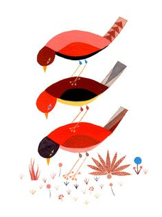 charley harper birds in beautiful reds