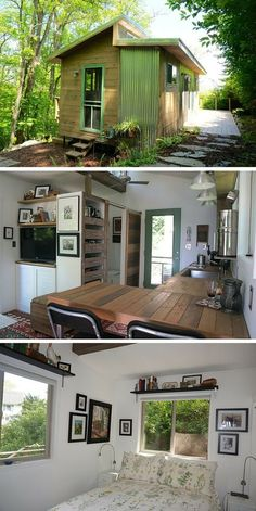 A couple downsized from their 3,500 sq ft home to this 250 sq ft cabin in the Blue Ridge Mountains of Virginia.