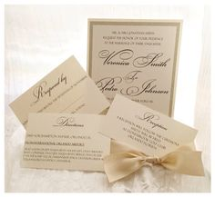 Champagne Wedding Invitation   by VPElegance on Etsy