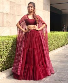 Anushka Sen Maroon Multi Layer Ruffle Net Party Wear Indo-Western Lehenga Choli With Shrug Choli Designs, Lehenga Designs, Indian Gowns Dresses, Indian Fashion Dresses, Dress Indian Style, Indian Designer Outfits, Indian Lehenga, Lehenga Choli, Net Lehenga