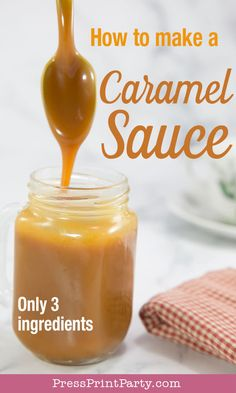 How to make a caramel sauce with only 3 ingredients. Easy recipe for caramel sauce for dips for apples, for ice cream, your coffee, or sticky toffee pudding Caramel Sauce Easy, Homemade Caramel Sauce, Caramel Recipes, Sticky Toffee Pudding, Apple Ice Cream, How To Make Caramel, Coffee Recipes, Caramel Iced Coffee Recipe, Pudding Recipes