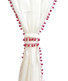 Another great find on #zulily! Fuchsia Trim Voile Pom-Pom Curtain Panel #zulilyfinds