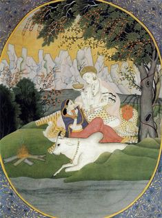 Shiva and Parvati.  Miniature. Pahari, India. 1770s-1780s.  Museum of Oriental Art, Moscow.