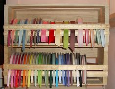 DIY Ribbon Storage from CD crate by casep - Cards and Paper Crafts at Splitcoaststampers Craft Room Storage, Craft Organization, Storage Ideas, Craft Rooms, Ribbon Storage, Diy Ribbon, Diy Crafts With Cds, Space Crafts, Craft Space