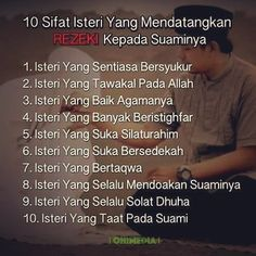 10 sifat isteri untuk rezeki suami