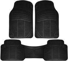 OxGord Universal Fit 3-Piece Full Set Ridged Heavy Duty Rubber Car,Truck,Van,SUV Floor Mats