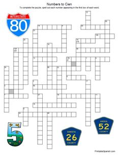 Printable Spanish FREEBIE of the Day: Numbers Crossword Puzzle 3 from PrintableSpanish.com