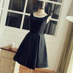 Tea Length A-line Black Bridesmaid Dress