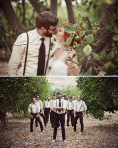 groom and groomsmen with thin suspenders