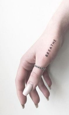 small tattoos with meaning . small tattoos for women . small tattoos for women with meaning . small tattoos for women on wrist . small tattoos with meaning inspiration Word Tattoos On Hand, Hand Tattoos For Women, Small Hand Tattoos, Meaningful Tattoos For Women, Little Tattoos, Mini Tattoos, New Tattoos, Tatoos, Simple Word Tattoos