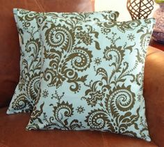 Throw Pillow 16x16 Removable cover Set of 2  by PersnicketyHome, $26.00