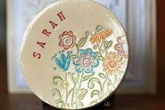 Ceramic Ring Dish Personalized Flower Plate Colorful Christmas Gift Pottery Ring Holder Bridal Shower Jewelry Dish