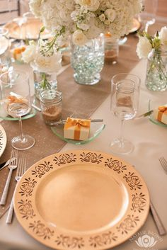 Place Setting with Gold Charger Silverware Favor Box Wine Glass \u0026 Bread Plate & Place Settings with Monstera Leaf \