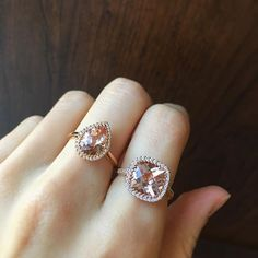 What's your cut? Elegant morganite rings with matching pendants and earrings Instagram Widget, Morganite Ring, Pendants, Jewels, Stone, Elegant, Earrings, Color, Classy