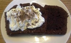 Sour cream and dark chocolate bread topped with fresh cream Fresh Cream, Sour Cream, Bread, Chocolate, Dark, Sweet, Desserts, Food, Candy