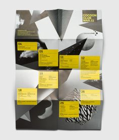 Cocoon Club: Monthly Program by Lukas Schneider – Typefaces used: Akkurat and Helvetica – via fontsinuse.com