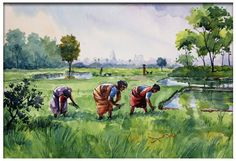 15 Ideas For Painting Landscape Watercolor Mobiles Watercolor Paintings Nature, Farm Paintings, Watercolor Water, Indian Art Paintings, Watercolor Images, Water Color Painting Landscape, Landscape Watercolour, Scenery Paintings, Watercolor Architecture