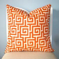 Greek Key Oskar Persimmon Decorative Pillow Cover by pillowplush, $23.00
