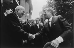 """President John F. Kennedy and Chairman Nikita Khrushchev during their meeting in Vienna, Austria."""", by Stanley Tretick, June 1961"""