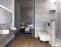 Continuidad habitación y baño en suite con puerta corredera de cristal
