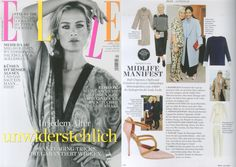 """Malone Souliers' 'Veronica' pumps in ELLE. Midlife Manifesto """"Ruth Chapman, head and founder of the luxury online destination MATCHESFASHION.COM, explains the styling tricks for Lady-looks. 4. Must Haves Latest looks by Tomas Maier/Bottega Veneta. A shirt-dress by WES GORDON. A pair of heels by Malone Souliers. Below: Heels by Malone Souliers, at Matchesfashion.com, €780."""" - Elle Germany #MaloneSouliers #RuthChapman #MatchesFashion #Veronica"""