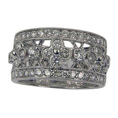 Thick Vintage Diamond Wedding Bands for Women