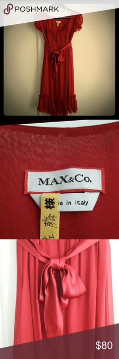 Max & Co 100 % silk dress, made in Italy Max & Co 100 % will dress, made in Italy. Wore once and professionally dry cleaned. Juliet style feminine dress. Super soft and cute. Great for holiday party season!  Some pics show orangish red due to lightning but actually darker red. Max & Co. Dresses Midi