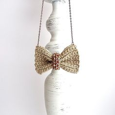 Crochet linen bow necklace rustic bow by BertaCrochetDecor on Etsy #rusticbow #rusticnecklace #bohobownecklace #shabbychick #shabbynecklace