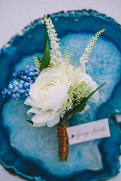 Indigo blue and copper wedding boutonniere ideas Wedding Flower Guide, Wedding Flowers, Greek Wedding, Our Wedding, Spring Wedding, Indigo Wedding, Wedding Bouquets, Wedding Boutonniere, Boutonnieres