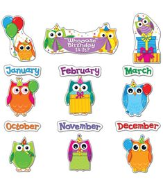 """Celebrate students' special days with this adorable, contemporary Colorful Owls Birthday Bulletin Board Set.  Includes 27 pieces:  """"'Whooose' Birthday Is It?"""" header , 12 birthday owls ,12 months  and 2 owl accents."""