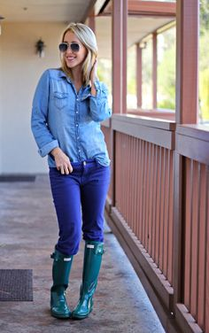 Navy Wellies Hunter Boots, Blue Ripped Jessica Simpson Jeans ...