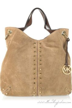Michael Kors -Uptown Astor Large Suede Tote - light brown Luxury womens handbags 2010 2011 3