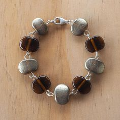 Recycled Glass Bead Bracelet.  Glass Beads made from a Beer bottle