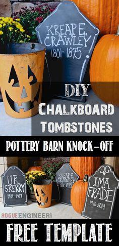 DIY Chalkboard Tombstones | Pottery Barn Knock-off | Free Template | Halloween Decor | Rogue Engineer