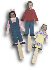 Cut out photographs of family members and glue them to craft sticks. You can act out real family events.