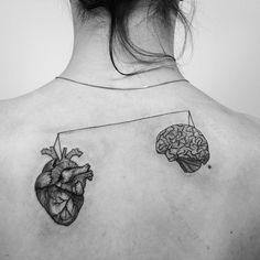 heart brain tattoo