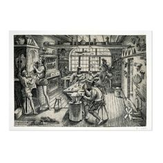 Etienne Delaune, Goldsmith's Workshop, an engraving  France, AD 1576  Second print