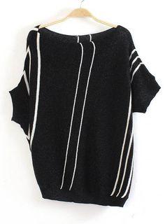 Black Half Sleeve Asymmetrical Vertical Stripe Sweater