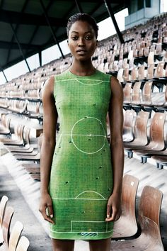 soccer field dress! Akris Spring Summer 2014: Nyasha Matonhodze
