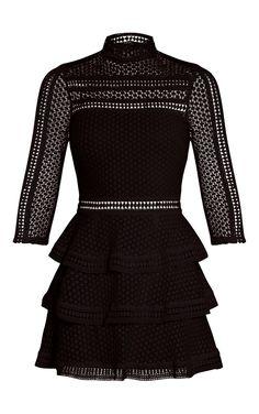 Caya Black Lace Panel Tiered Mini Dress Image 3